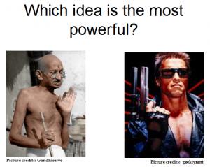 Gun or Gandhi 2BildrTxt